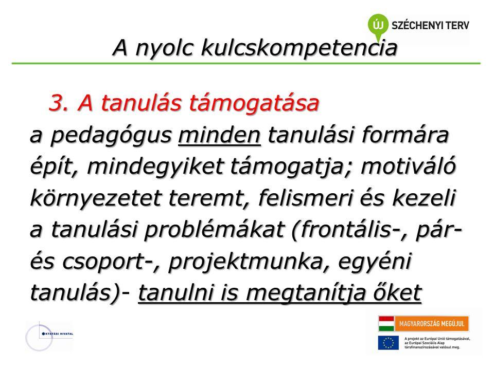 A nyolc kulcskompetencia 3. A tanulás támogatása a pedagógus minden tanulási formára épít, mindegyiket támogatja; motiváló környezetet teremt, felisme