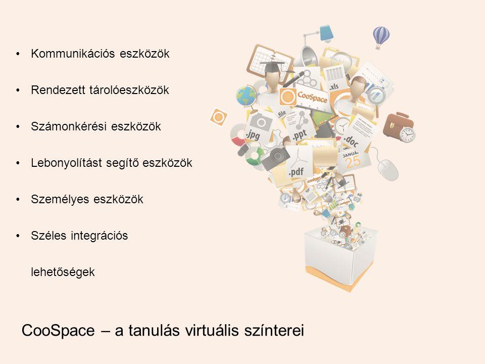 •Kommunikációs eszközök •Rendezett tárolóeszközök •Számonkérési eszközök •Lebonyolítást segítő eszközök •Személyes eszközök •Széles integrációs lehetőségek CooSpace – a tanulás virtuális színterei