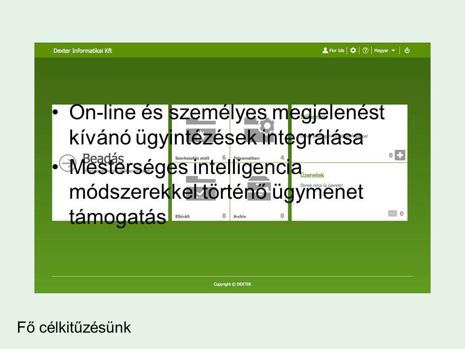Fő célkitűzésünk •On-line és személyes megjelenést kívánó ügyintézések integrálása •Mesterséges intelligencia módszerekkel történő ügymenet támogatás