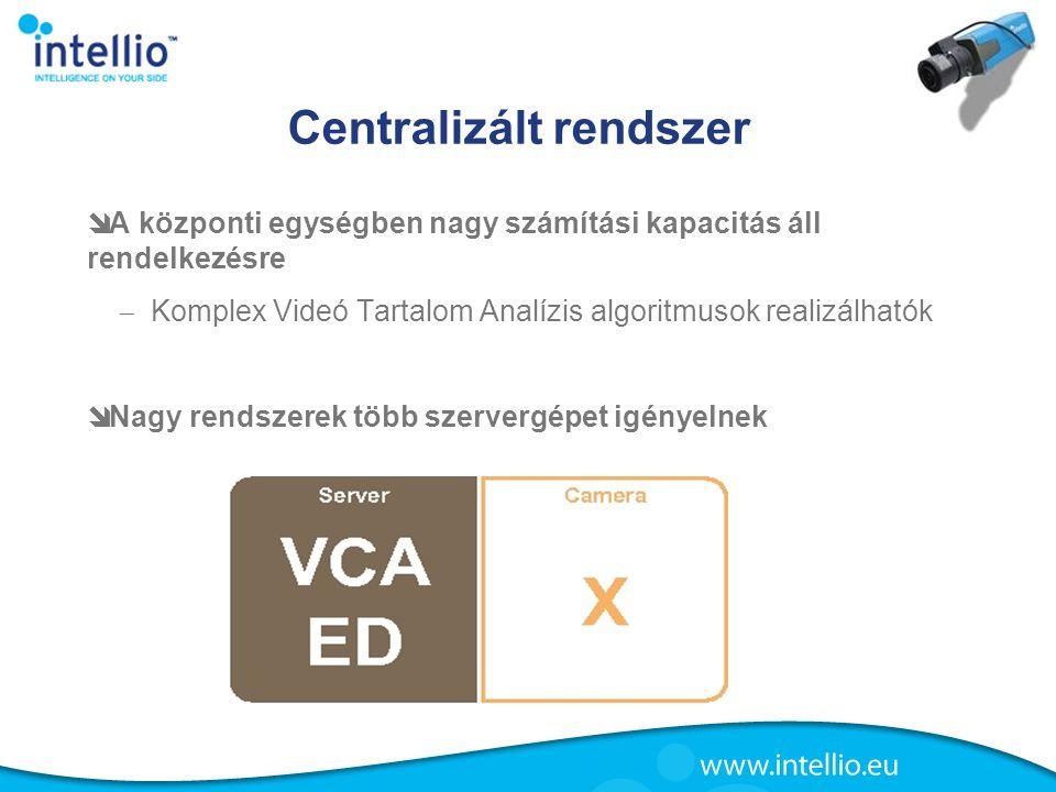 Centralizált rendszer  A központi egységben nagy számítási kapacitás áll rendelkezésre  Komplex Videó Tartalom Analízis algoritmusok realizálhatók 