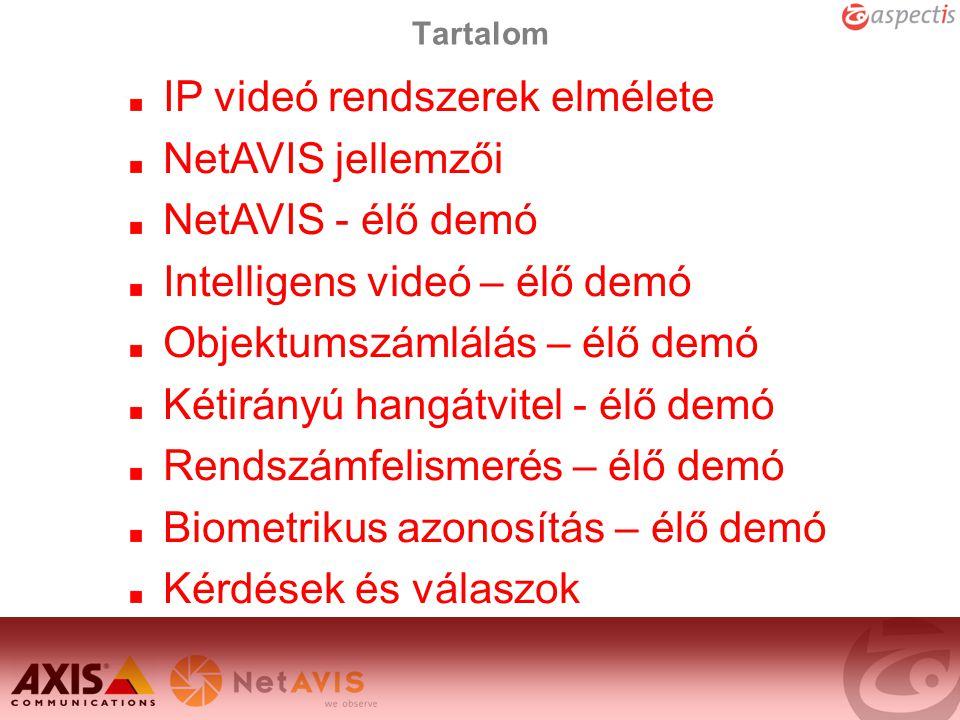 Tartalom IP videó rendszerek elmélete NetAVIS jellemzői NetAVIS - élő demó Intelligens videó – élő demó Objektumszámlálás – élő demó Kétirányú hangátv