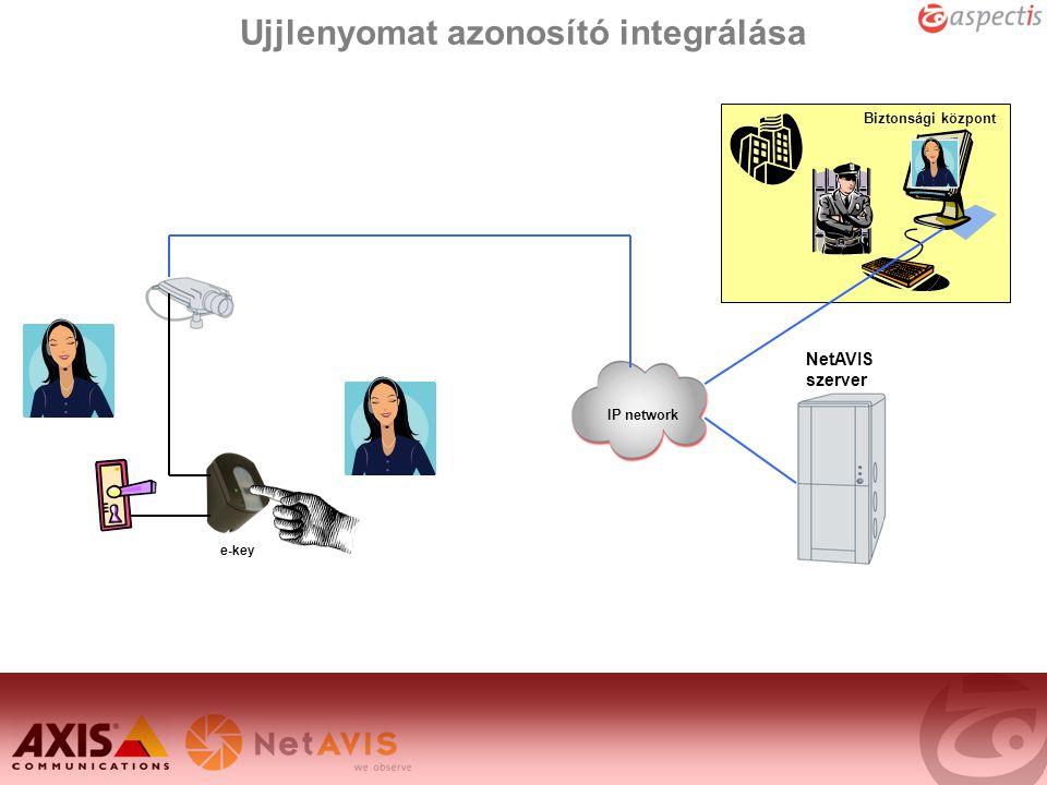 Ujjlenyomat azonosító integrálása e-key Biztonsági központ IP network NetAVIS szerver