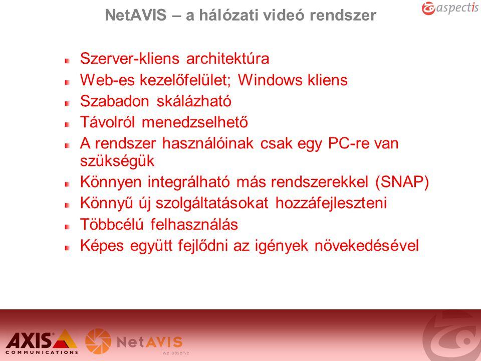 NetAVIS – a hálózati videó rendszer Szerver-kliens architektúra Web-es kezelőfelület; Windows kliens Szabadon skálázható Távolról menedzselhető A rend