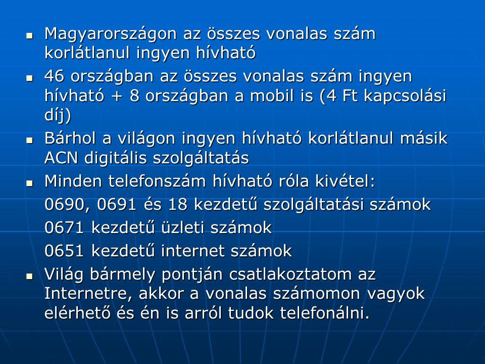  Magyarországon az összes vonalas szám korlátlanul ingyen hívható  46 országban az összes vonalas szám ingyen hívható + 8 országban a mobil is (4 Ft kapcsolási díj)  Bárhol a világon ingyen hívható korlátlanul másik ACN digitális szolgáltatás  Minden telefonszám hívható róla kivétel: 0690, 0691 és 18 kezdetű szolgáltatási számok 0671 kezdetű üzleti számok 0651 kezdetű internet számok  Világ bármely pontján csatlakoztatom az Internetre, akkor a vonalas számomon vagyok elérhető és én is arról tudok telefonálni.