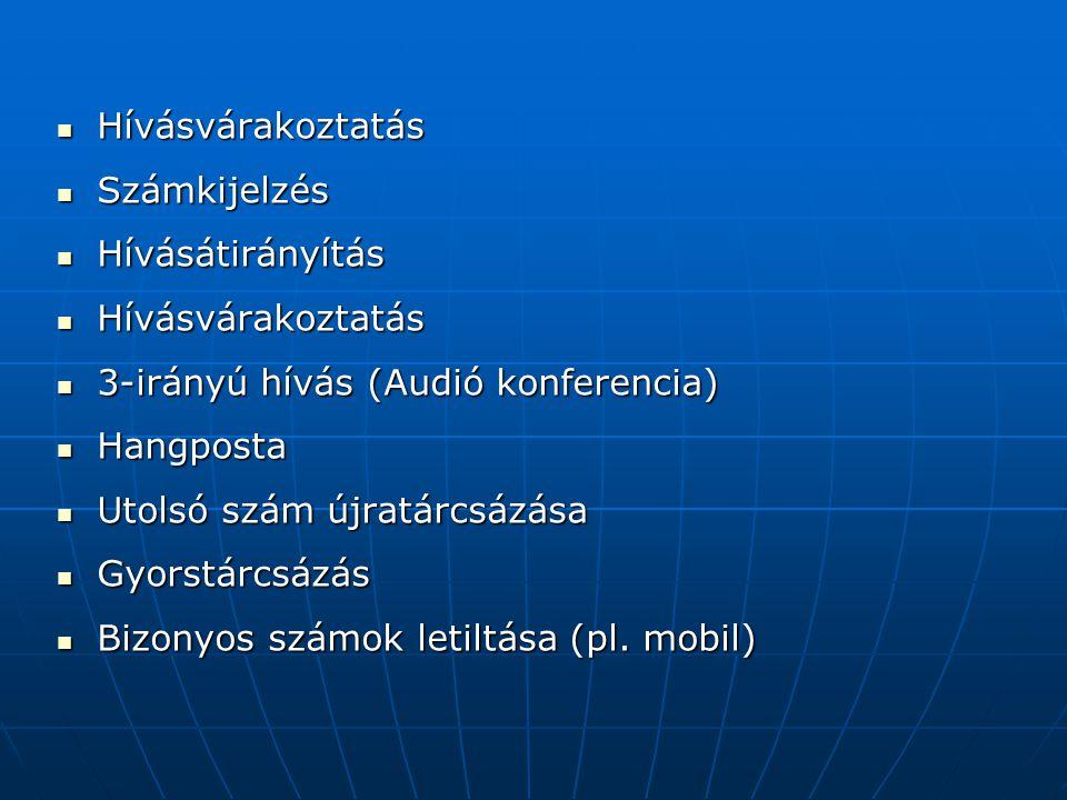  Hívásvárakoztatás  Számkijelzés  Hívásátirányítás  Hívásvárakoztatás  3-irányú hívás (Audió konferencia)  Hangposta  Utolsó szám újratárcsázása  Gyorstárcsázás  Bizonyos számok letiltása (pl.