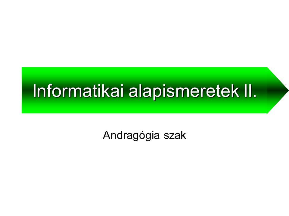 Informatikai alapismeretek II.2Médiumok Az információ terjesztésére szolgáló eszközök  Szöveg  Hang  Kép  Animáció  Videó  Hipermédia