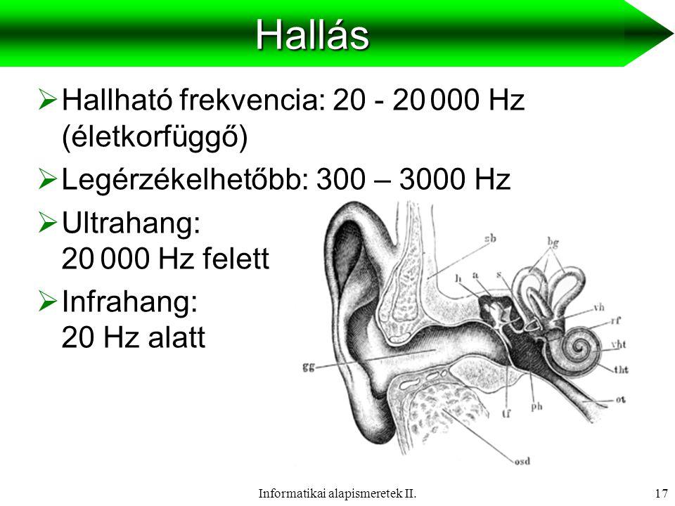 Informatikai alapismeretek II.18 Akusztikai alapfogalmak  Akusztika: az emberi hallás jellemzőivel foglalkozik.