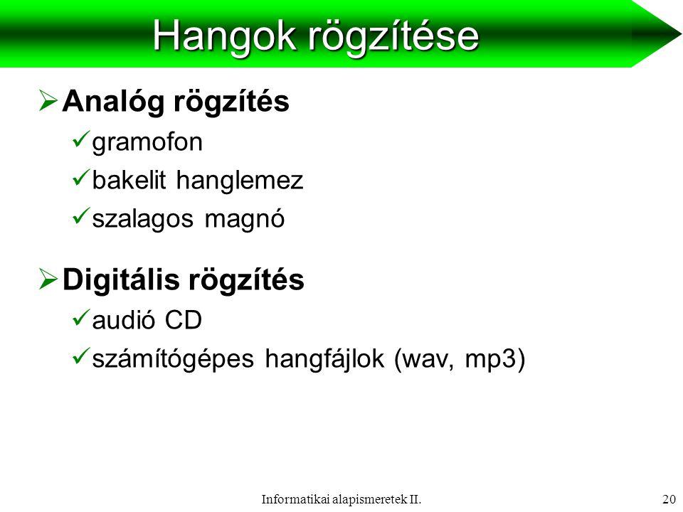 Informatikai alapismeretek II.21 Analóg hangrögzítés  Rögzítés:  A hangjel átalakítása rögzíthető, elektromos jelformára, melyben a jel frekvenciái és intenzitásai megfelelnek az eredeti hangjelnek.