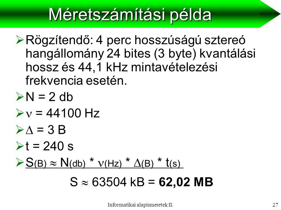 Informatikai alapismeretek II.28 A digitalizálás minősége Mintavételezési frekvencia 11,025 kHz22,05 kHz44,1 kHz Kvantálási hossz 8 bit Nagyon gyenge (beszéd) Közepes minőség (beszéd) Jó minőség (beszéd zene) 16 bit Elfogadható (beszéd) Jó (beszéd, zene) Hi-Fi minőség (beszéd, zene)