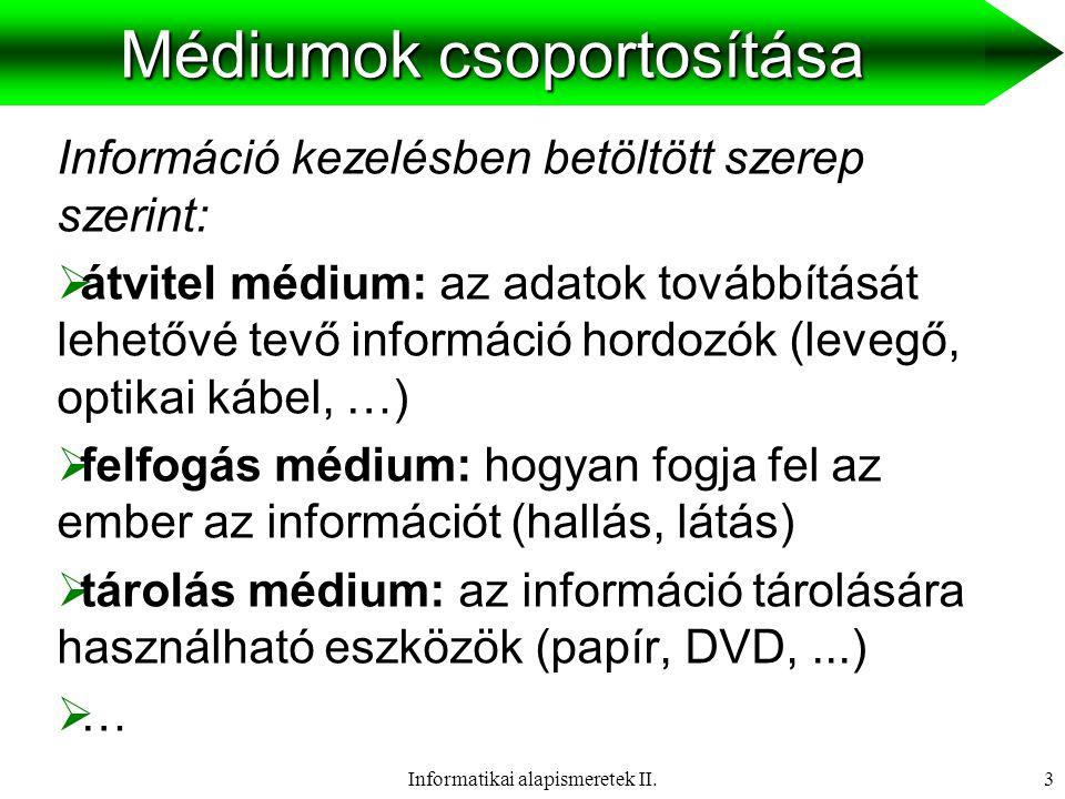 Informatikai alapismeretek II.4 Médiumok csoportosítása Információk időfüggése alapján:  diszkrét médium: időtől függetlenek, adat érvényessége nem függ időbeli feltételektől.