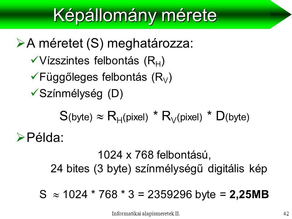 Informatikai alapismeretek II.43Színkeverés  Főszínek: vörös, zöld, kék  Minden szín kikeverhető belőlük.