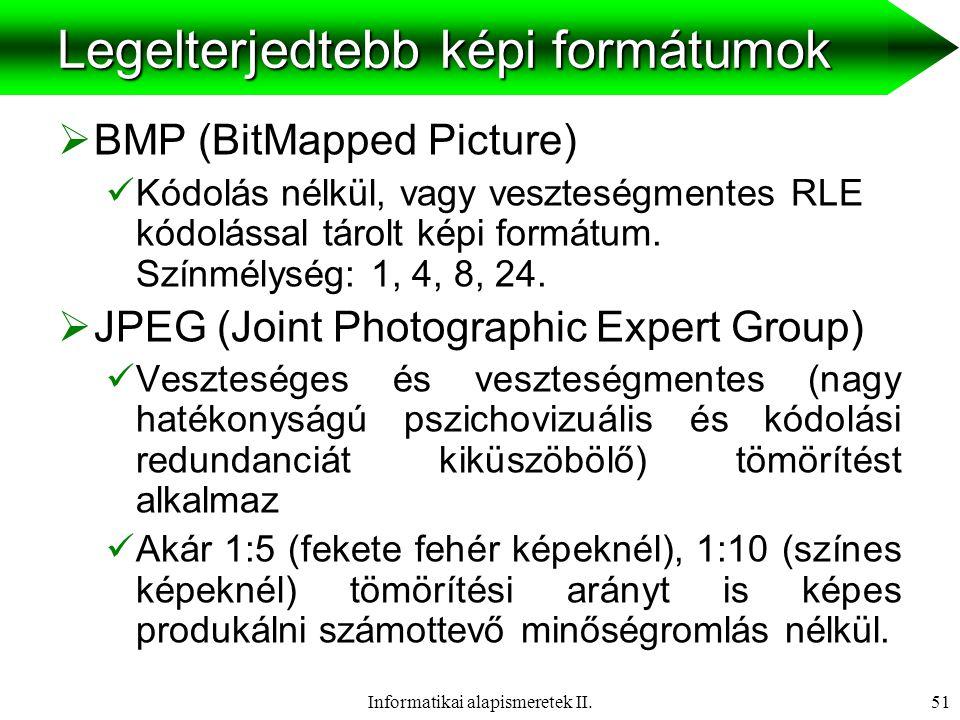 Informatikai alapismeretek II.52 Legelterjedtebb képi formátumok  GIF (Graphic Interchange Format)  Helyettesítési (veszteségmentes) eljáráson alapuló maximum 256 színű (8bit) képet megjeleníteni képes képformátum  Ha a kép viszonylag homogén, és max 256 színt tartalmaz akkor célszerű ebben a formátumban tárolni.