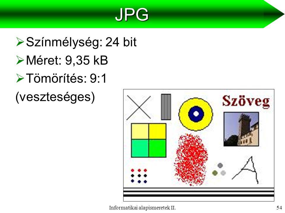 Informatikai alapismeretek II.55GIF  Színmélység: 8 bit  Méret: 4,08 kB  Tömörítés: 21:1 (veszteségmentes tömörítés, de lehet színveszteség)