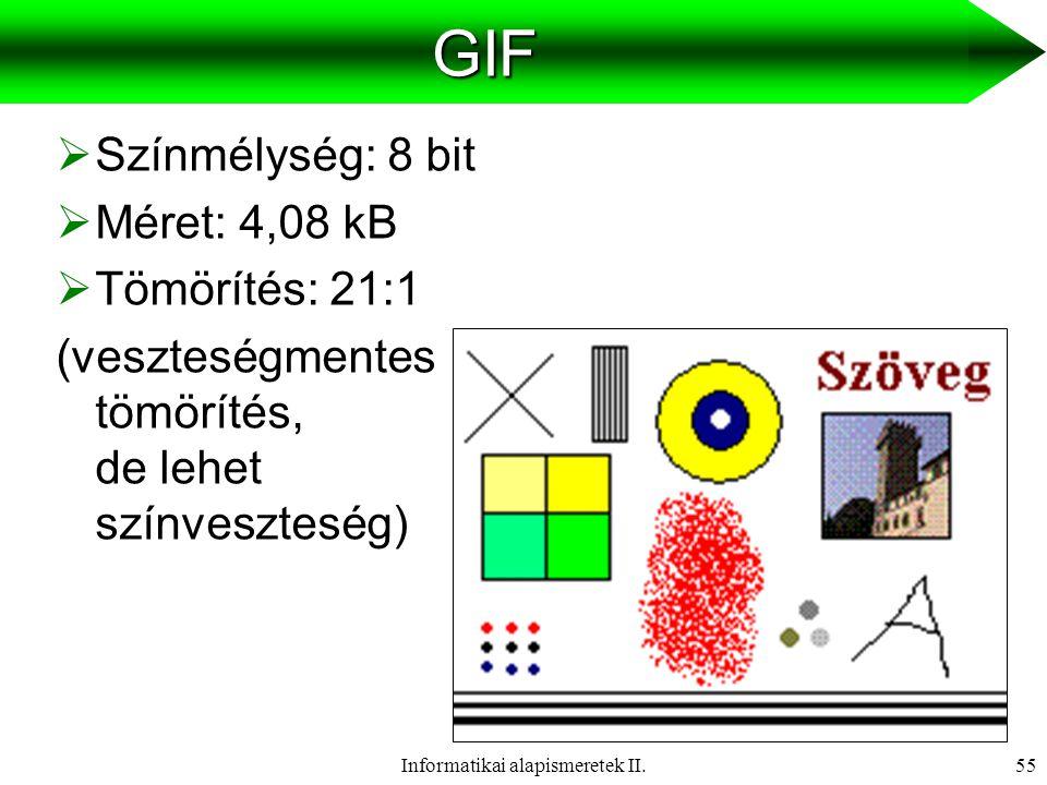 Informatikai alapismeretek II.56PNG  Színmélység: 24 bit  Méret: 9,05 kB  Tömörítés: 10:1 (veszteségmentes)