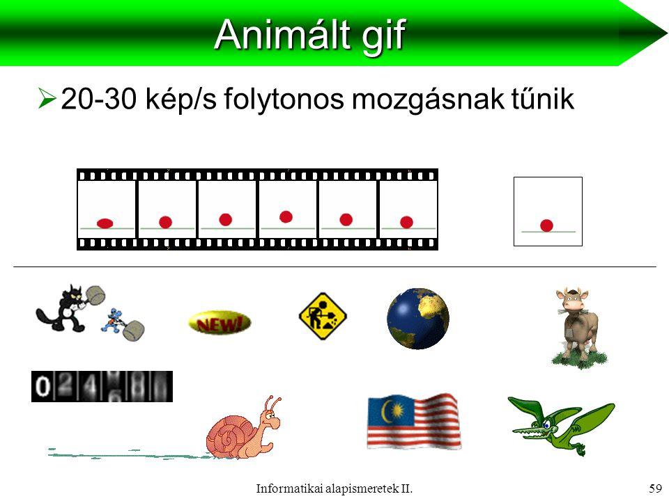 Informatikai alapismeretek II.60  Szöveg   Hang   Kép   Animáció   Videó  HipermédiaMédiumok