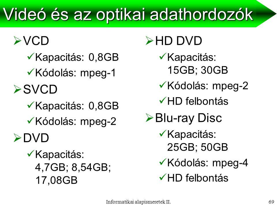 Informatikai alapismeretek II.70 Feladat: videofeldolgozás Egy PAL rendszerű VHS kazettára rögzített 9 perc 31 másodperc hosszú beszédét 320x240–es felbontásban, 16 bites színmélység mellett kell az Interneten keresztül elérhetővé tenni úgy, hogy olyanok is letölthessék, illetve folyamatosan nézhessék, akiknek csak modemes kapcsolatuk van (40 kbps sávszélesség).