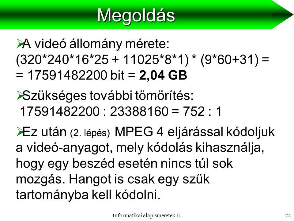 Informatikai alapismeretek II.75Médiumok  Szöveg   Hang   Kép   Animáció   Videó   Hipermédia