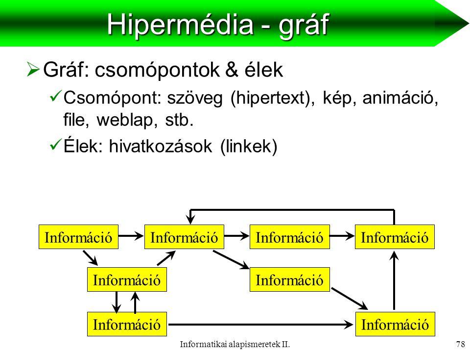 Informatikai alapismeretek II.79 Hardver eszközök Input eszközök  Scanner  Digitális fényképező  Webkamera  Mikrofon  Interaktív tábla Output eszközök  Monitor  Nyomtató  Projektor  Hangfalrendszer  Interaktív tábla