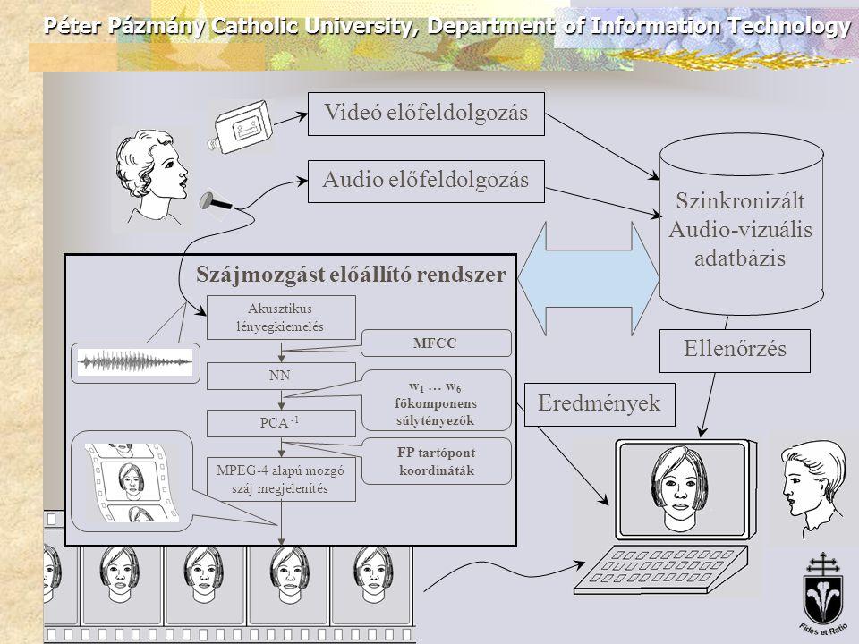 Péter Pázmány Catholic University, Department of Information Technology Videó előfeldolgozás Audio előfeldolgozás Szinkronizált Audio-vizuális adatbázis Ellenőrzés Eredmények Szájmozgást előállító rendszer NN MFCC w 1 … w 6 főkomponens súlytényezők PCA -1 Akusztikus lényegkiemelés FP tartópont koordináták MPEG-4 alapú mozgó száj megjelenítés