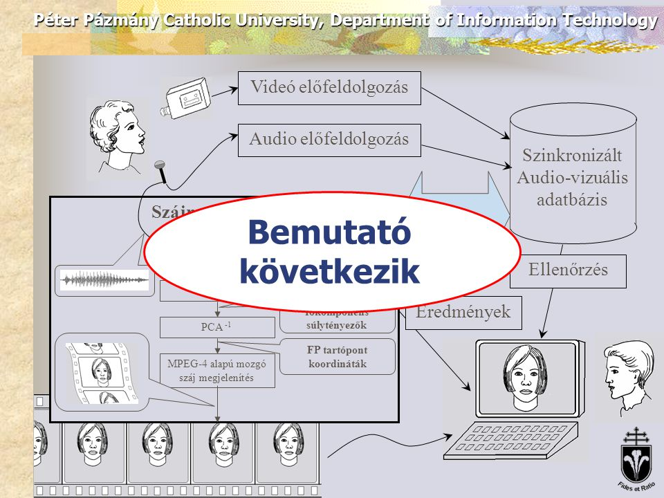 Péter Pázmány Catholic University, Department of Information Technology Videó előfeldolgozás Audio előfeldolgozás Szinkronizált Audio-vizuális adatbáz