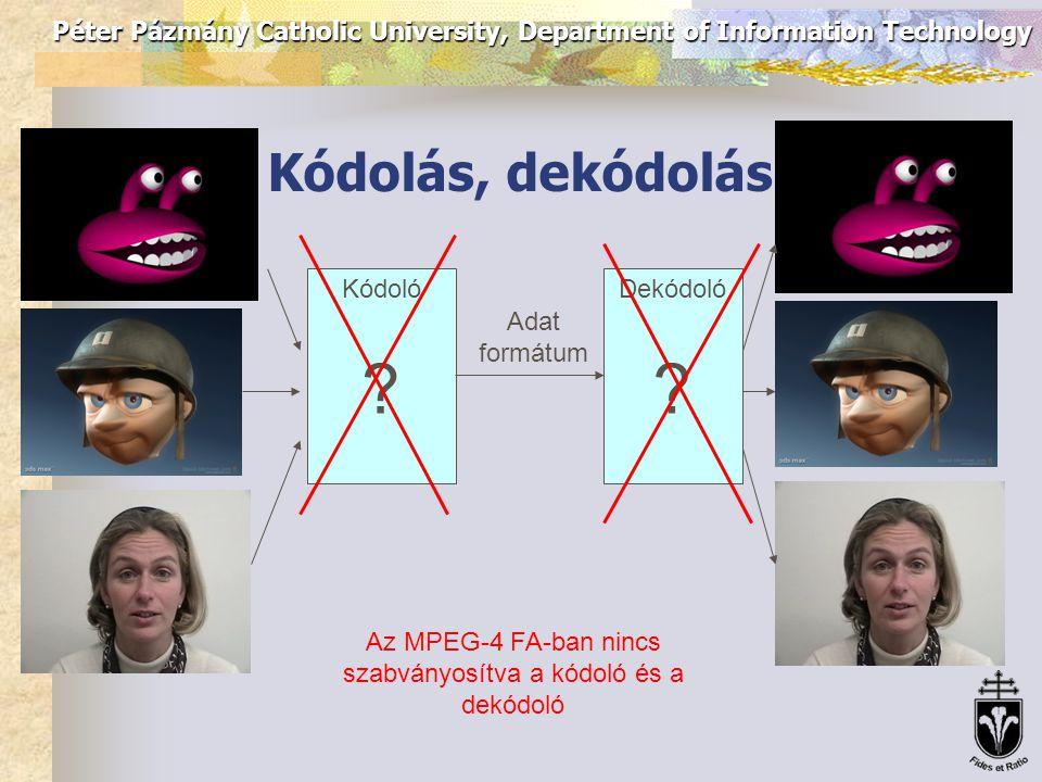Péter Pázmány Catholic University, Department of Information Technology Műveletek MPEG-4 adatokkal Alapállású fej Érzelmet, szájállást megjelenítő fej  A modell méretarányának ismeretében határozhatók meg az egyes FDP-k elmozdulásának mértékei Érzelmet, szájállást megjelenítő fej Alapállású fej