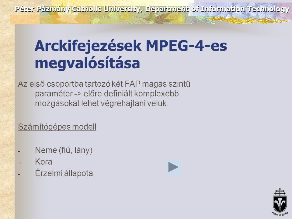 Péter Pázmány Catholic University, Department of Information Technology Vizuális adatbázis létrehozása