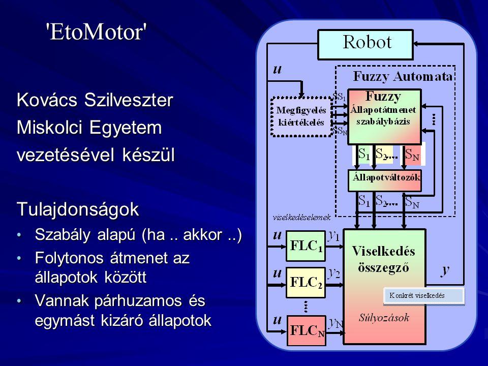 'EtoMotor' Kovács Szilveszter Miskolci Egyetem vezetésével készül Tulajdonságok • Szabály alapú (ha.. akkor..) • Folytonos átmenet az állapotok között