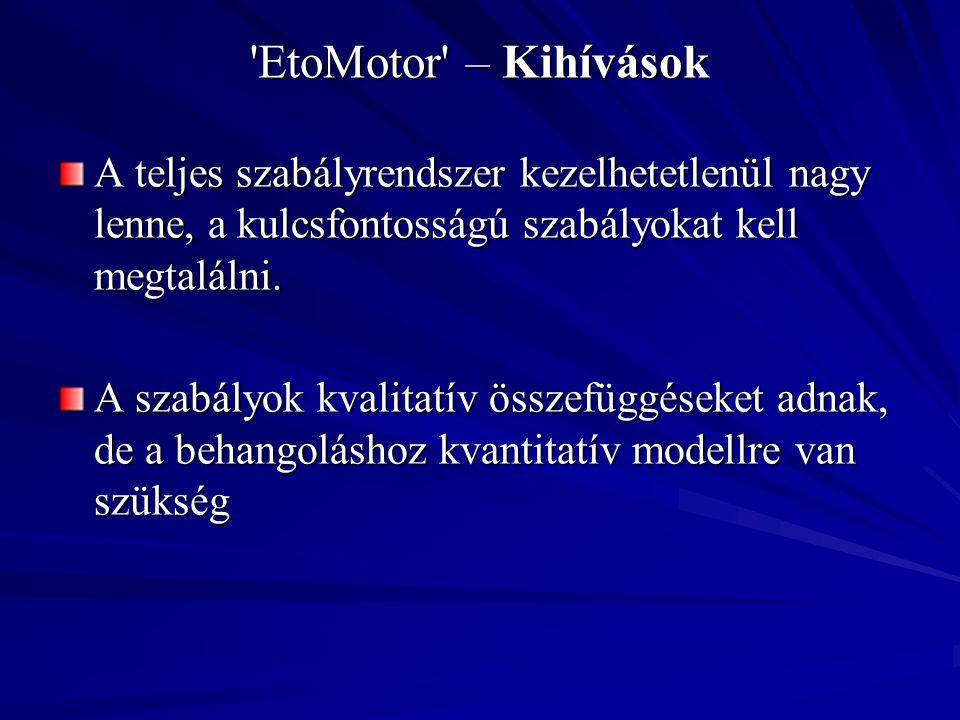'EtoMotor' – Kihívások A teljes szabályrendszer kezelhetetlenül nagy lenne, a kulcsfontosságú szabályokat kell megtalálni. A szabályok kvalitatív össz