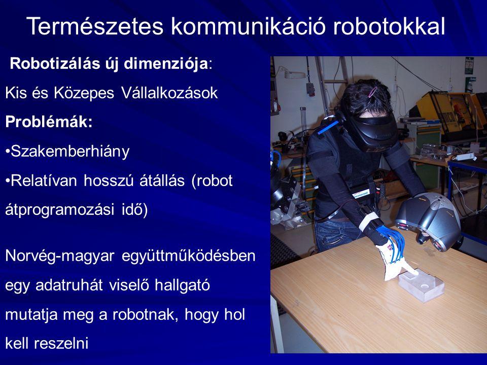 4 Természetes kommunikáció robotokkal Robotizálás új dimenziója: Kis és Közepes Vállalkozások Problémák: •Szakemberhiány •Relatívan hosszú átállás (ro