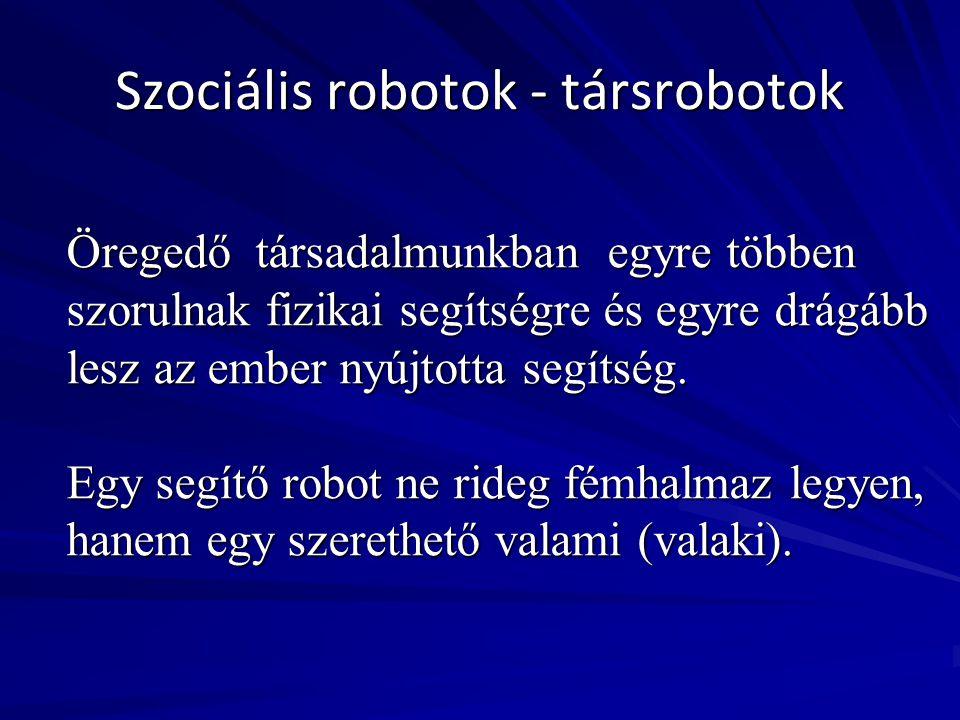 Szociális robotok - társrobotok Öregedő társadalmunkban egyre többen szorulnak fizikai segítségre és egyre drágább lesz az ember nyújtotta segítség. E