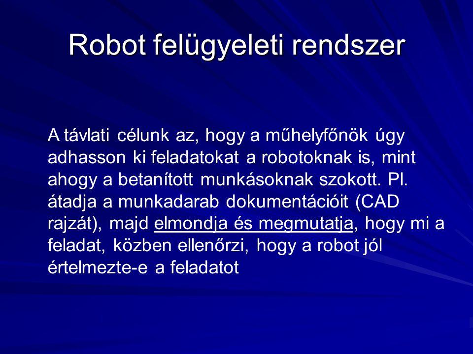 Robot felügyeleti rendszer A távlati célunk az, hogy a műhelyfőnök úgy adhasson ki feladatokat a robotoknak is, mint ahogy a betanított munkásoknak sz