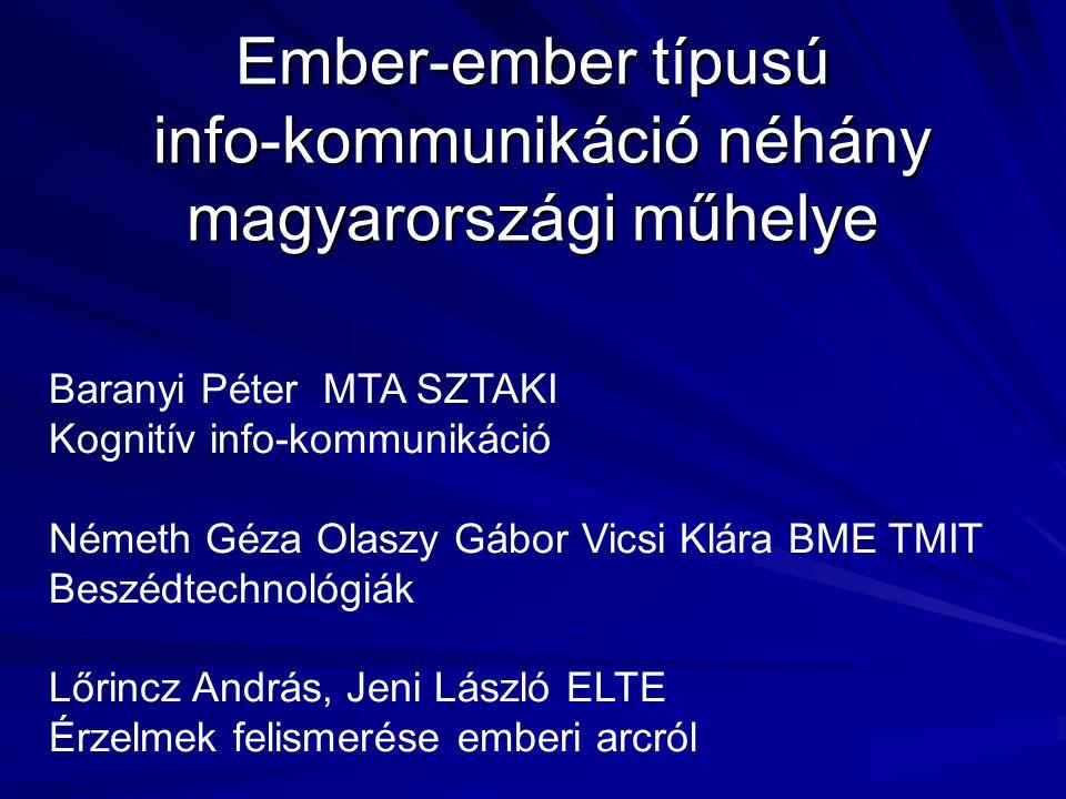 Ember-ember típusú info-kommunikáció néhány magyarországi műhelye Baranyi Péter MTA SZTAKI Kognitív info-kommunikáció Németh Géza Olaszy Gábor Vicsi K