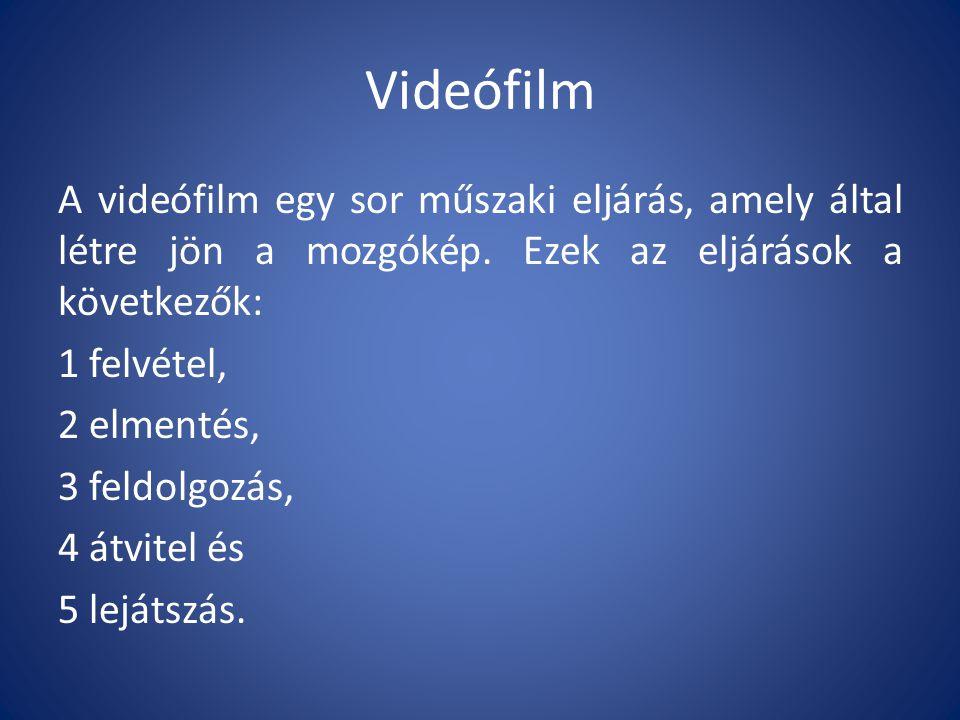 Videófilm A videófilm egy sor műszaki eljárás, amely által létre jön a mozgókép.