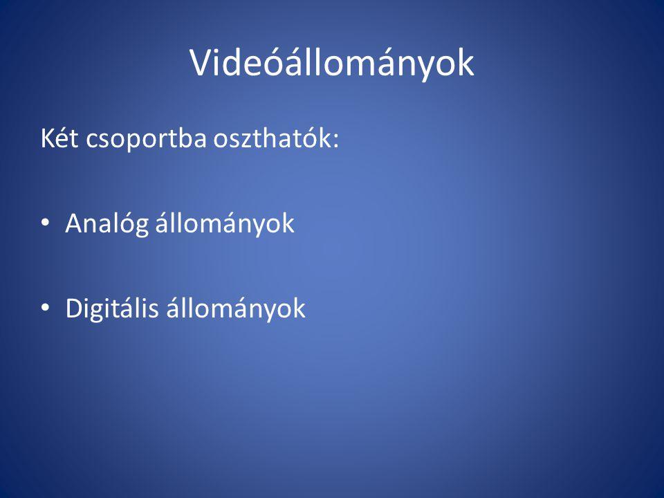 Videóállományok Két csoportba oszthatók: • Analóg állományok • Digitális állományok