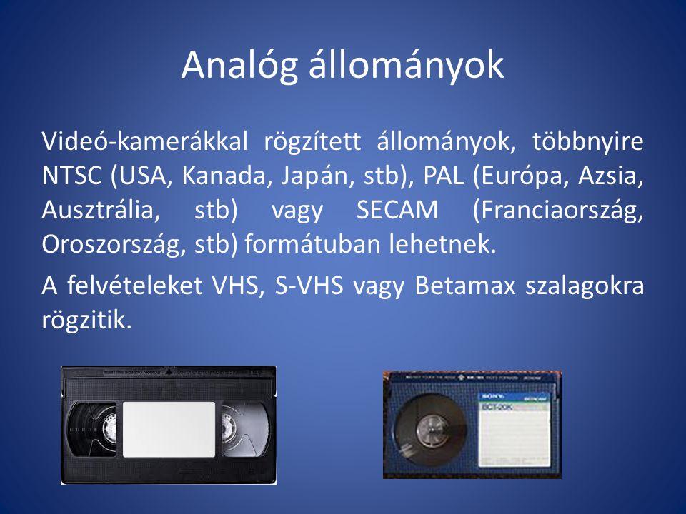 Analóg állományok Videó-kamerákkal rögzített állományok, többnyire NTSC (USA, Kanada, Japán, stb), PAL (Európa, Azsia, Ausztrália, stb) vagy SECAM (Franciaország, Oroszország, stb) formátuban lehetnek.