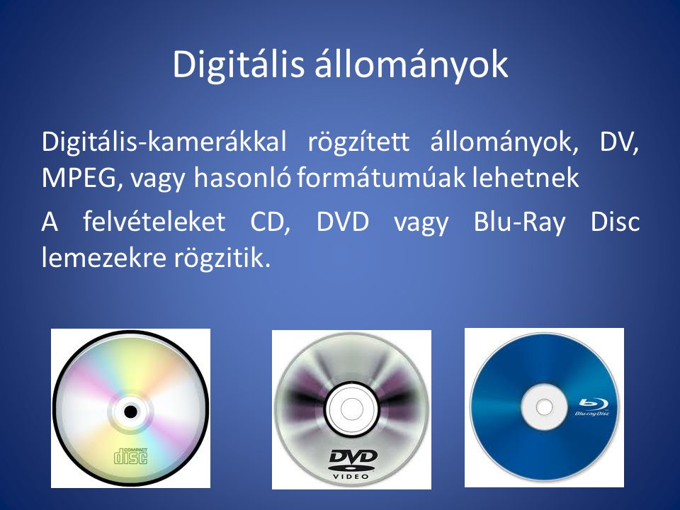 Digitális állományok Legismertebb digitális állományok:.wmv (Windows Media Video).avi (Audio Video Interleave).ogg (OggVorbis je audio zapis).mkv (Matroška Video).mpeg (Moving Picture Experts Group).flv (Flash Video)