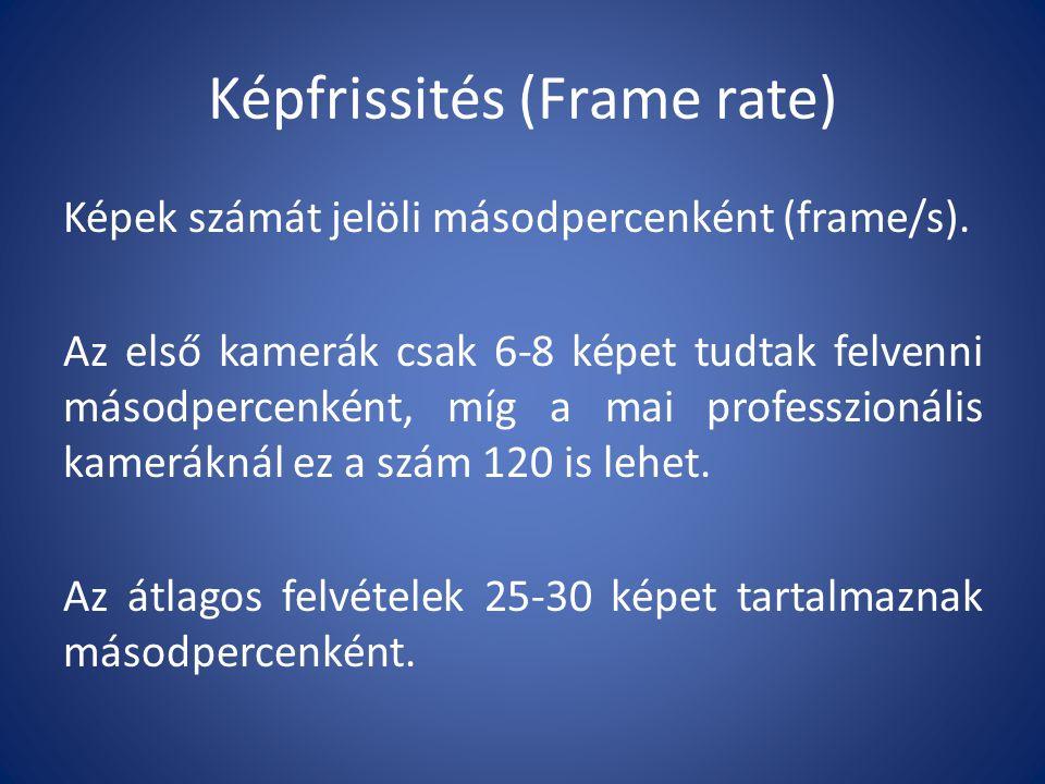 Képfrissités (Frame rate) Képek számát jelöli másodpercenként (frame/s).