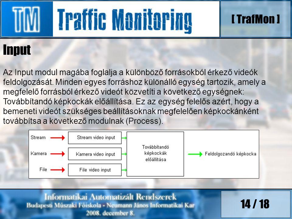 14 / 18 Az Input modul magába foglalja a különböző forrásokból érkező videók feldolgozását. Minden egyes forráshoz különálló egység tartozik, amely a