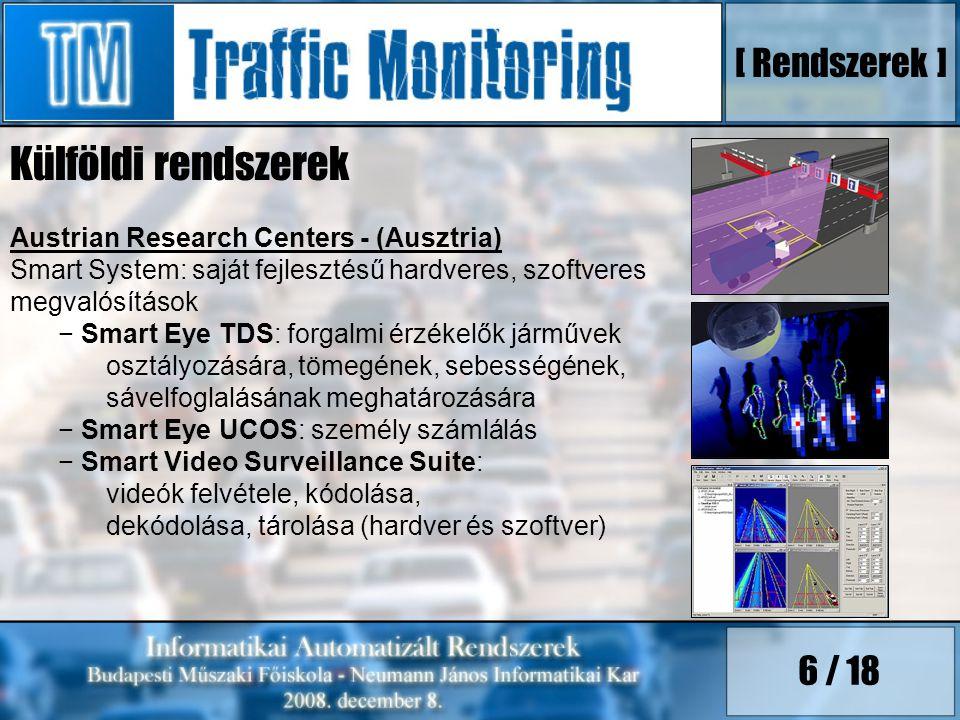 6 / 18 Külföldi rendszerek Austrian Research Centers - (Ausztria) Smart System: saját fejlesztésű hardveres, szoftveres megvalósítások − Smart Eye TDS