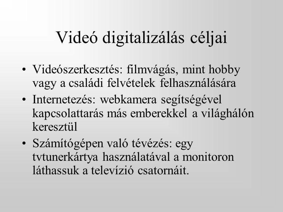 Videó digitalizálás céljai •Videószerkesztés: filmvágás, mint hobby vagy a családi felvételek felhasználására •Internetezés: webkamera segítségével kapcsolattarás más emberekkel a világhálón keresztül •Számítógépen való tévézés: egy tvtunerkártya használatával a monitoron láthassuk a televízió csatornáit.