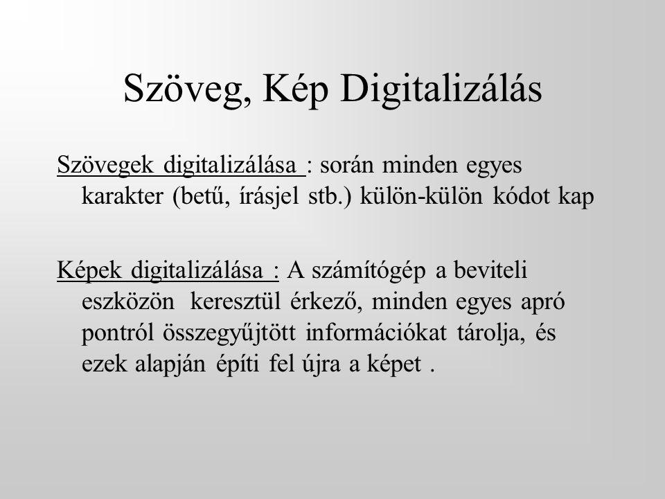 Szöveg, Kép Digitalizálás Szövegek digitalizálása : során minden egyes karakter (betű, írásjel stb.) külön-külön kódot kap Képek digitalizálása : A sz