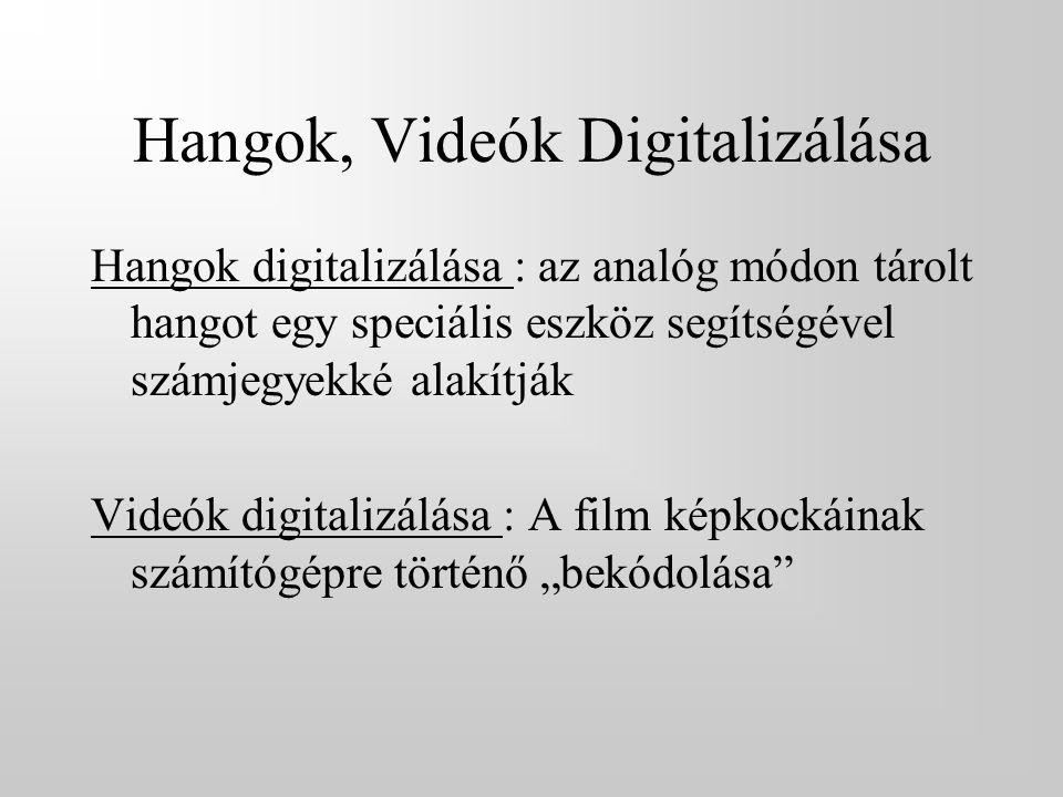 """Hangok, Videók Digitalizálása Hangok digitalizálása : az analóg módon tárolt hangot egy speciális eszköz segítségével számjegyekké alakítják Videók digitalizálása : A film képkockáinak számítógépre történő """"bekódolása"""