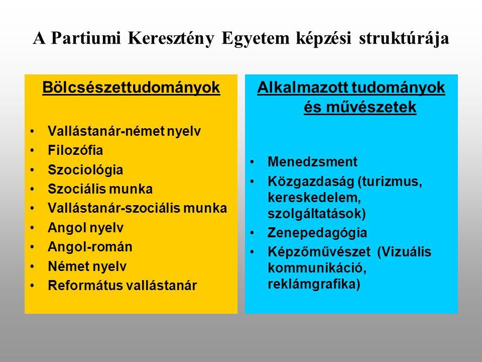 A Partiumi Keresztény Egyetem képzési struktúrája Bölcsészettudományok •Vallástanár-német nyelv •Filozófia •Szociológia •Szociális munka •Vallástanár-