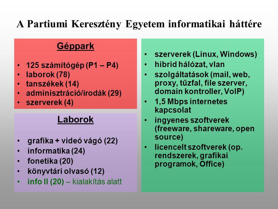 A Partiumi Keresztény Egyetem informatikai háttére Laborok •grafika + videó vágó (22) •informatika (24) •fonetika (20) •könyvtári olvasó (12) •info II