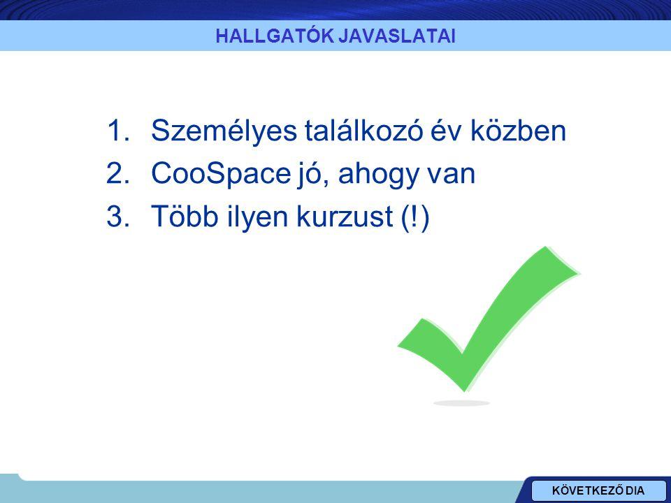 HALLGATÓK JAVASLATAI 1.Személyes találkozó év közben 2.CooSpace jó, ahogy van 3.Több ilyen kurzust (!) KÖVETKEZŐ DIA
