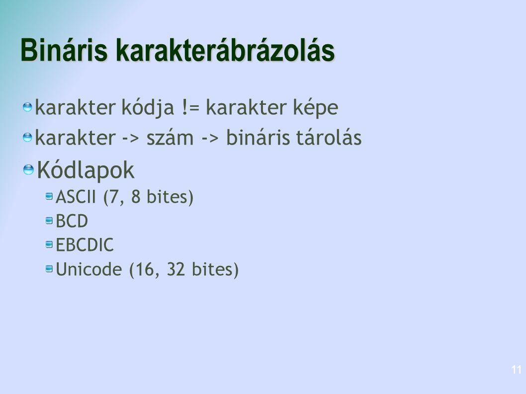 Bináris karakterábrázolás karakter kódja != karakter képe karakter -> szám -> bináris tárolás Kódlapok ASCII (7, 8 bites) BCD EBCDIC Unicode (16, 32 b