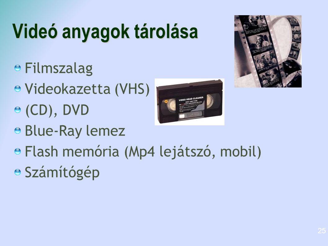 Videó anyagok tárolása Filmszalag Videokazetta (VHS) (CD), DVD Blue-Ray lemez Flash memória (Mp4 lejátszó, mobil) Számítógép 25