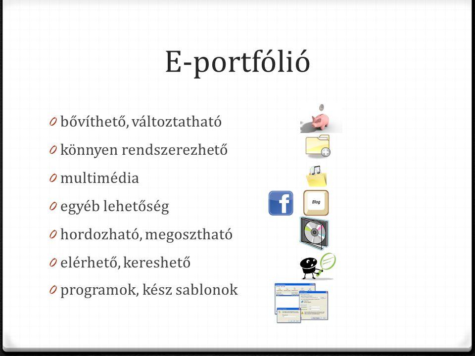 E-portfólió 0 bővíthető, változtatható 0 könnyen rendszerezhető 0 multimédia 0 egyéb lehetőség 0 hordozható, megosztható 0 elérhető, kereshető 0 programok, kész sablonok