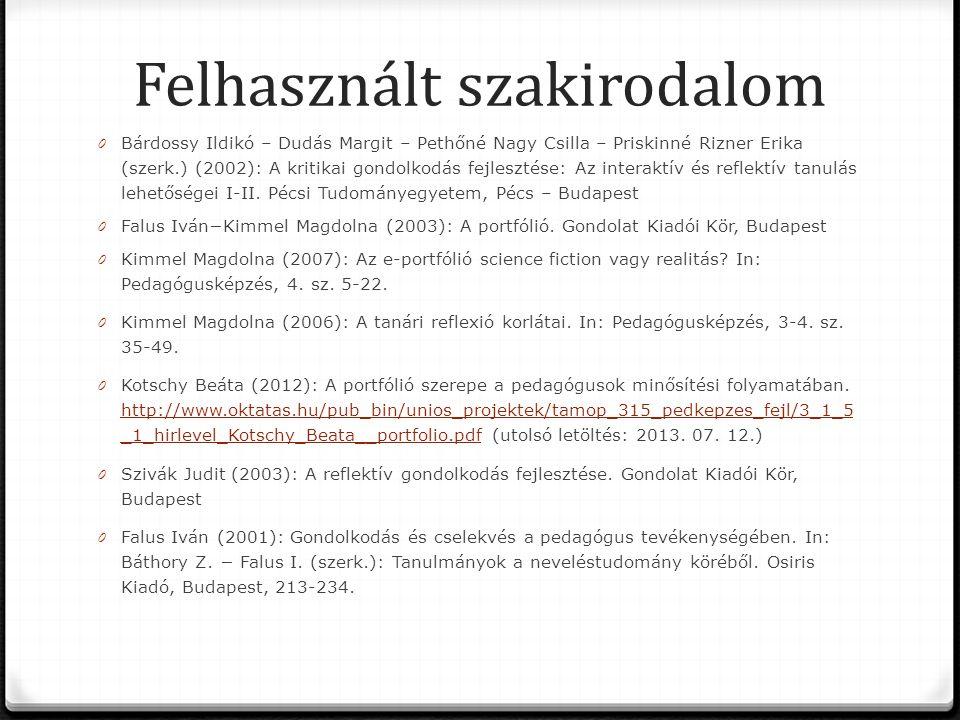 Felhasznált szakirodalom 0 Bárdossy Ildikó – Dudás Margit – Pethőné Nagy Csilla – Priskinné Rizner Erika (szerk.) (2002): A kritikai gondolkodás fejlesztése: Az interaktív és reflektív tanulás lehetőségei I-II.