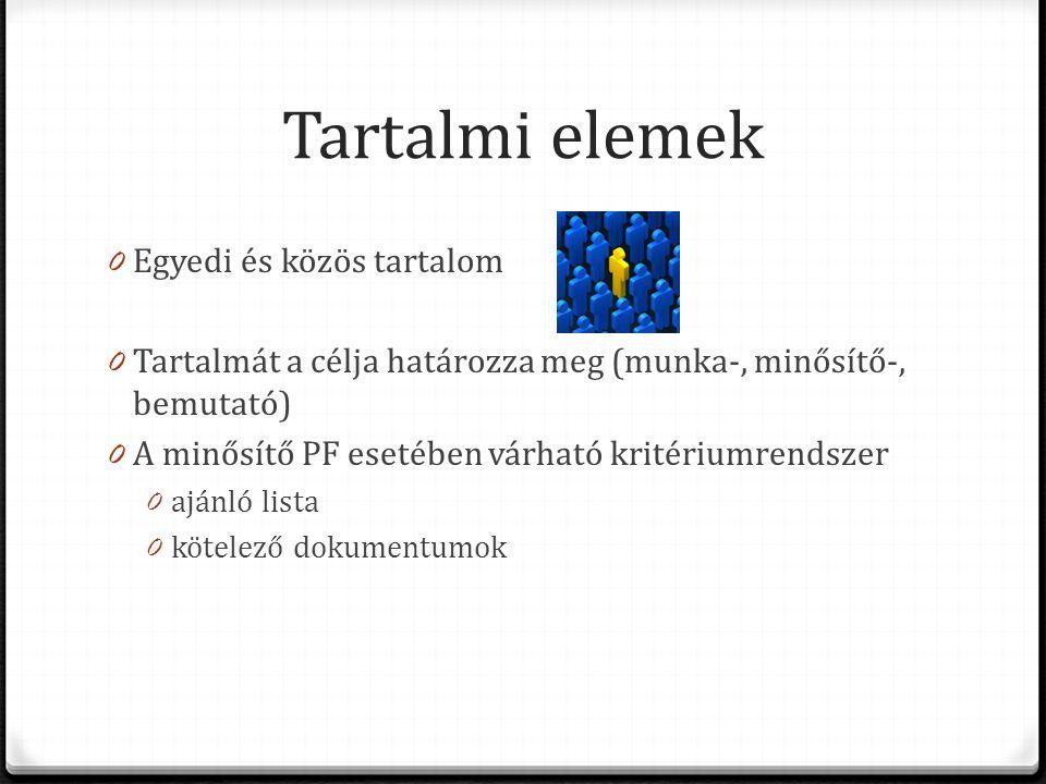 Tartalmi elemek 0 Egyedi és közös tartalom 0 Tartalmát a célja határozza meg (munka-, minősítő-, bemutató) 0 A minősítő PF esetében várható kritériumrendszer 0 ajánló lista 0 kötelező dokumentumok